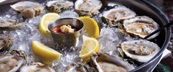 Oysters on the half shell in a bed of ice with lemon slices and cocktail sauce