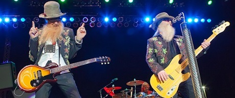 ZZ Top on stage at Sunset Station Hotel & Casino's outdoor amphitheater
