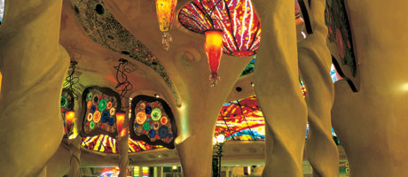 Artistic glass ceiling inside Gaudi bar at Sunset Station