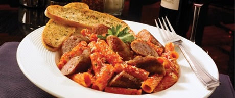 Rigatoni, italian sausage, and garlic bread